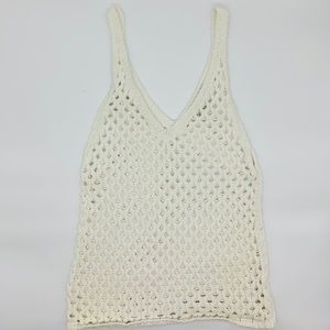 7 For All Mankind Cream Knit Crochet Tank